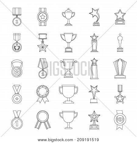 Medal award icon set. Outline illustration of 25 medal award vector icons for web