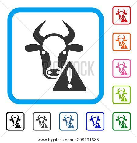 Cow Warning icon. Flat grey iconic symbol in a light blue rounded square. Black, gray, green, blue, red, orange color versions of Cow Warning vector. Designed for web and app user interface.