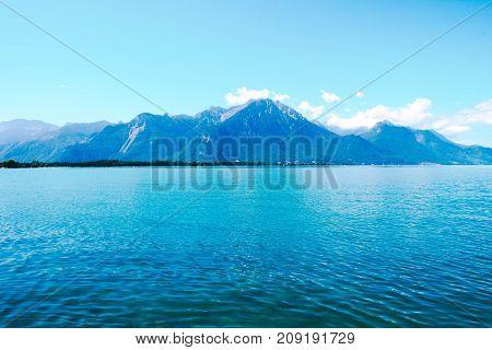 Amazing view of lake Geneva, Lausanne, Switzerland. Beautiful seascape