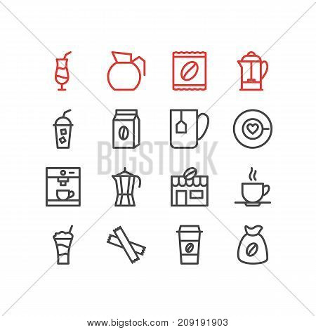 Editable Pack Of Mug, Coffeemaker, Saucer And Other Elements.  Vector Illustration Of 16 Java Icons.