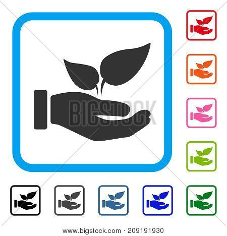 Eco Startup Hand icon. Flat grey pictogram symbol in a light blue rounded square. Black, gray, green, blue, red, orange color versions of Eco Startup Hand vector.