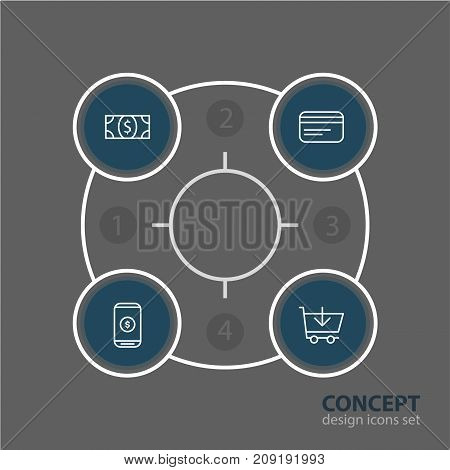Editable Pack Of Coins, Payment, Buy And Other Elements.  Vector Illustration Of 4 Wholesale Icons.