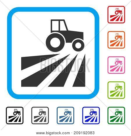 Farm Field With Tractor icon. Flat grey iconic symbol in a light blue rounded squared frame. Black, gray, green, blue, red, orange color variants of Farm Field With Tractor vector.
