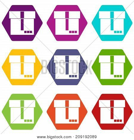Box icon set many color hexahedron isolated on white vector illustration
