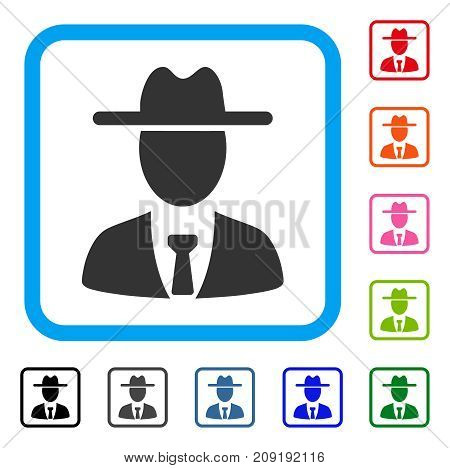 Farmer Boss icon. Flat gray pictogram symbol in a light blue rounded rectangle. Black, gray, green, blue, red, orange color additional versions of Farmer Boss vector.