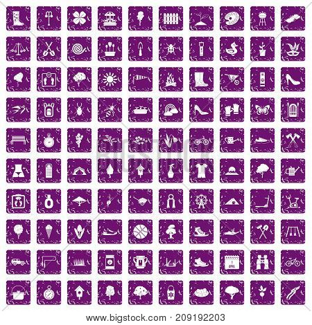 100 spring icons set in grunge style purple color isolated on white background vector illustration