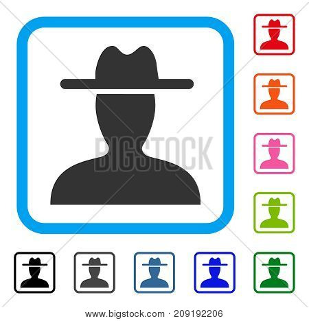 Farmer icon. Flat gray iconic symbol inside a light blue rounded squared frame. Black, gray, green, blue, red, orange color variants of Farmer vector. Designed for web and software UI.