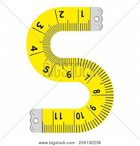 Letter s ruler icon. Cartoon illustration of letter s ruler vector icon for web