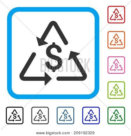 Financial Recycling icon. Flat gray pictogram symbol in a light blue rounded rectangular frame. Black, gray, green, blue, red, orange color variants of Financial Recycling vector.
