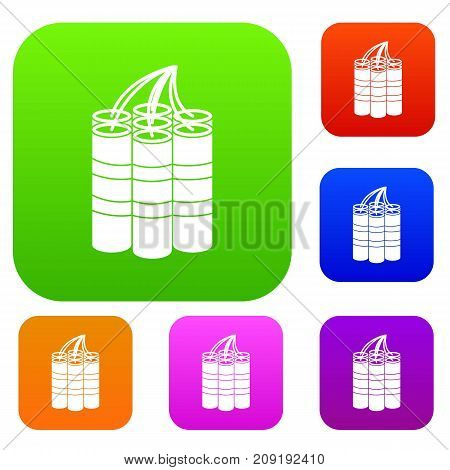 Dynamite sticks set icon color in flat style isolated on white. Collection sings vector illustration