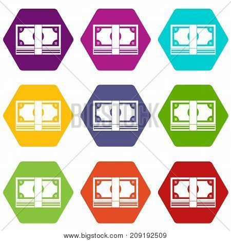 Bundle of money icon set many color hexahedron isolated on white vector illustration