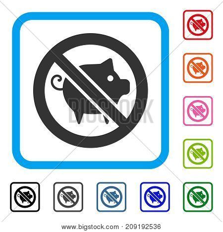 Forbidden Pig icon. Flat gray pictogram symbol inside a light blue rounded rectangular frame. Black, gray, green, blue, red, orange color variants of Forbidden Pig vector.