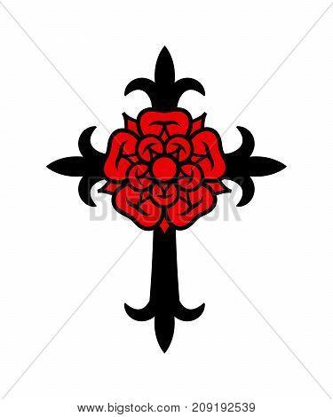 Rosenkreuz (Cross with Rose). Sacral mystical symbol of The Rosicrucians (Rosenkreuzer), The Emblem of secret society.