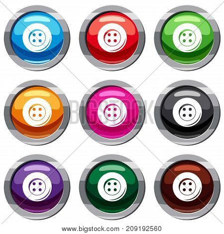 Button for sewing set icon isolated on white. 9 icon collection vector illustration