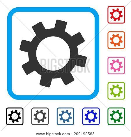Gear icon. Flat gray iconic symbol in a light blue rounded rectangle. Black, gray, green, blue, red, orange color versions of Gear vector. Designed for web and software user interface.