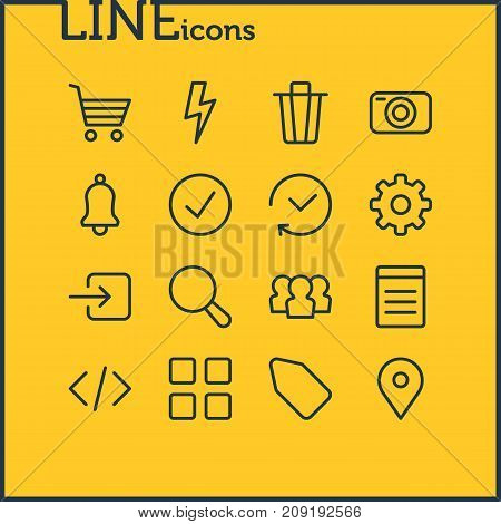 Editable Pack Of Document, Script, Photo Apparatus And Other Elements.  Vector Illustration Of 16 Application Icons.