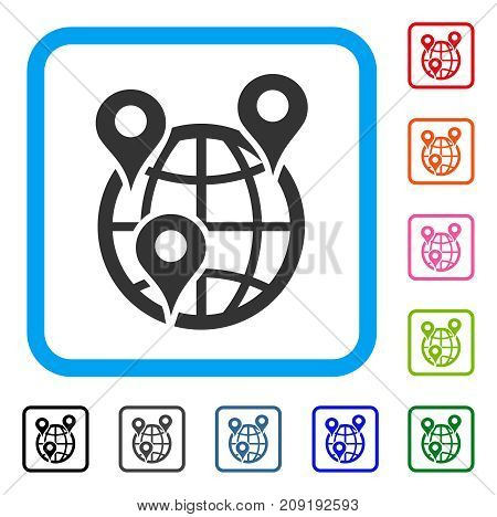 Global Company Branches icon. Flat gray iconic symbol in a light blue rounded rectangular frame. Black, gray, green, blue, red, orange color versions of Global Company Branches vector.