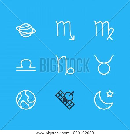 Editable Pack Of Planet, Night, Satellite And Other Elements.  Vector Illustration Of 9 Galaxy Icons.