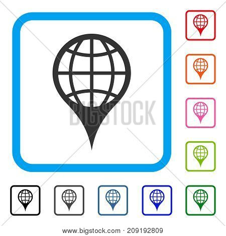 Global Location icon. Flat gray iconic symbol inside a light blue rounded frame. Black, gray, green, blue, red, orange color variants of Global Location vector. Designed for web and software UI.