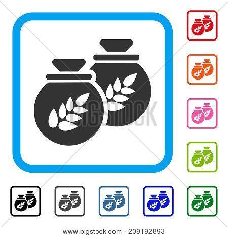 Grain Harvest Sacks icon. Flat grey pictogram symbol inside a light blue rounded squared frame. Black, gray, green, blue, red, orange color versions of Grain Harvest Sacks vector.