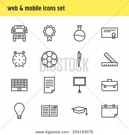Editable Pack Of Bulb, Textbook, Date And Other Elements.  Vector Illustration Of 16 Studies Icons.