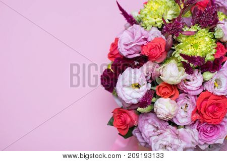 Beautiful Floral Arrangement, Pink And Red Rose, Pink Eustoma, Yellow Chrysanthemum