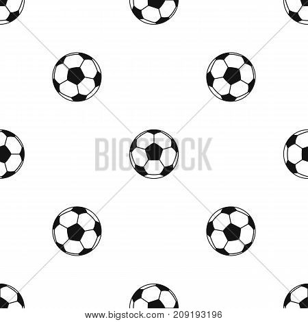 Football or soccer ball pattern repeat seamless in black color for any design. Vector geometric illustration