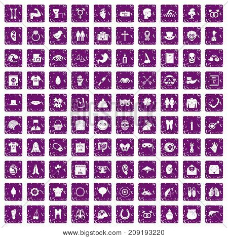 100 spring holidays icons set in grunge style purple color isolated on white background vector illustration