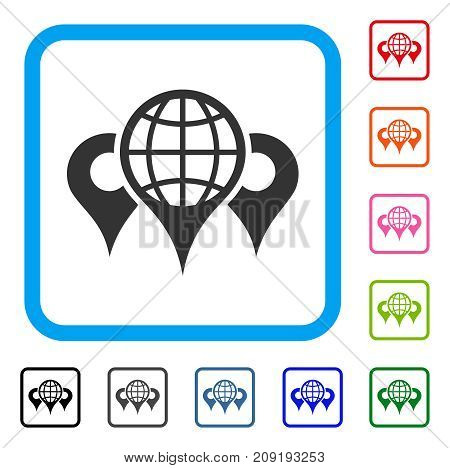 Locations icon. Flat gray iconic symbol inside a light blue rounded frame. Black, gray, green, blue, red, orange color variants of Locations vector. Designed for web and application interfaces.