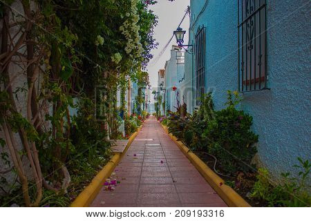 Spanish Street. Little traditional Spanish Street with plants and flowers. Costa del Sol, Andalusia, Spain. Picture taken - 15 october 2017.