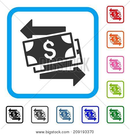 Money Exchange icon. Flat gray iconic symbol in a light blue rounded square. Black, gray, green, blue, red, orange color additional versions of Money Exchange vector.