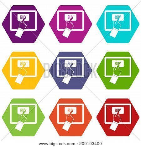 Online shopping icon set many color hexahedron isolated on white vector illustration