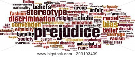 Prejudice word cloud concept. Vector illustration on white