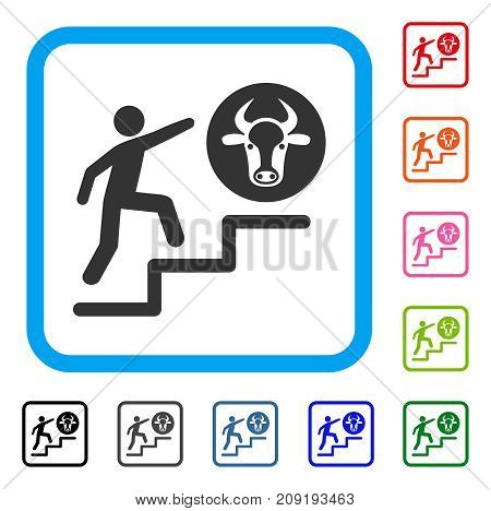 Person Climbing To Cow icon. Flat grey pictogram symbol inside a light blue rounded rectangular frame. Black, gray, green, blue, red, orange color additional versions of Person Climbing To Cow vector.