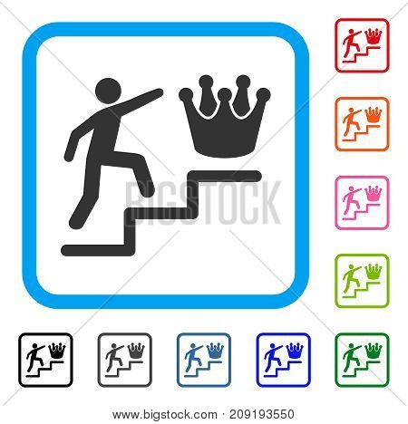Person Steps To Crown icon. Flat grey iconic symbol in a light blue rounded rectangular frame. Black, gray, green, blue, red, orange color variants of Person Steps To Crown vector.