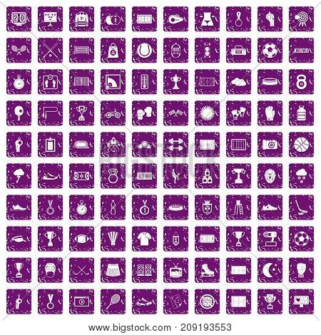 100 stadium icons set in grunge style purple color isolated on white background vector illustration