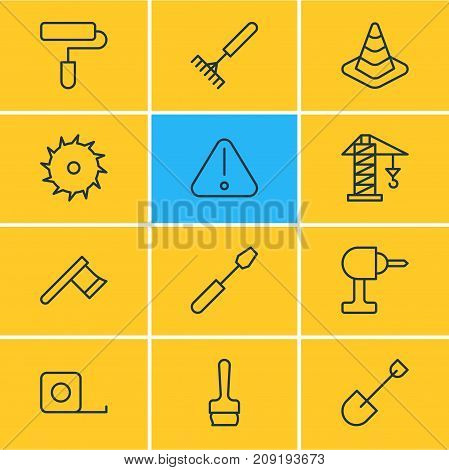 Editable Pack Of Measure Tape, Turn Screw, Roller And Other Elements.  Vector Illustration Of 12 Structure Icons.