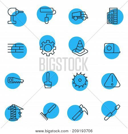 Editable Pack Of Handle Hit, Road Sign, Hacksaw Elements.  Vector Illustration Of 16 Construction Icons.