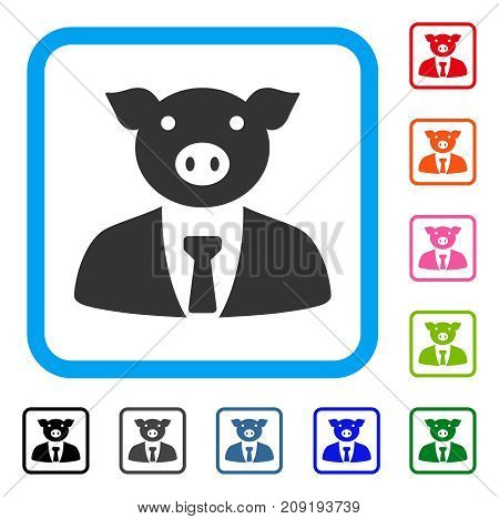 Pig Boss icon. Flat grey pictogram symbol in a light blue rounded squared frame. Black, gray, green, blue, red, orange color variants of Pig Boss vector. Designed for web and application UI.