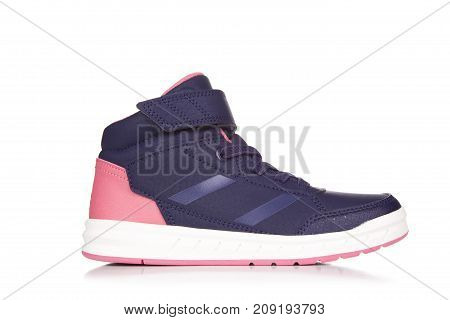 Blue Sneaker Isolated On White With Shadow,one Sneakers Isolated On White