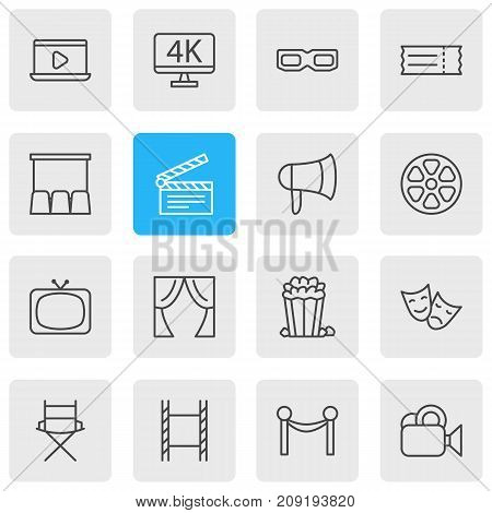 Editable Pack Of Coupon, Tragedy, Camera And Other Elements.  Vector Illustration Of 16 Cinema Icons.