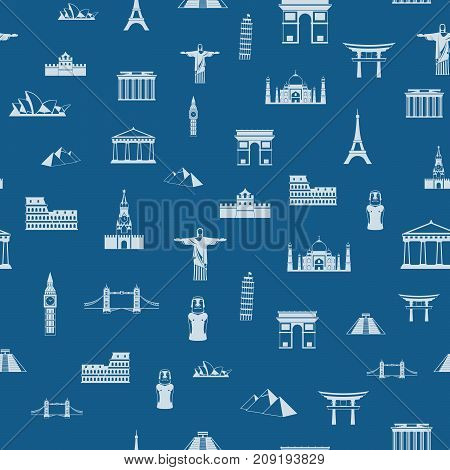 Seamless pattern of the attractions of the world, outline drawing for your application. The most famous place for travel