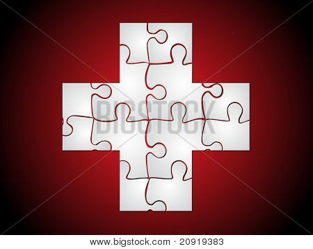 plus medical puzzle sign, brown vector illustration
