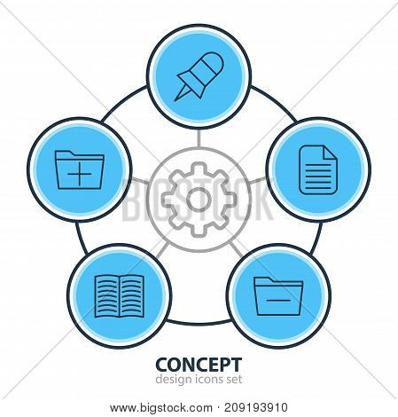 Editable Pack Of Textbook, Note, Blank And Other Elements.  Vector Illustration Of 5 Workplace Icons.
