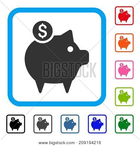 Piggy Bank icon. Flat grey iconic symbol inside a light blue rounded frame. Black, gray, green, blue, red, orange color additional versions of Piggy Bank vector. Designed for web and app interfaces.