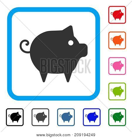 Piggy icon. Flat grey pictogram symbol in a light blue rounded square. Black, gray, green, blue, red, orange color versions of Piggy vector. Designed for web and software user interface.
