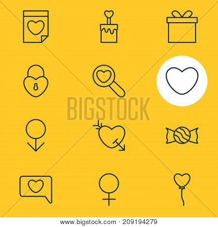 Editable Pack Of Gift, Arrow, Lock And Other Elements.  Vector Illustration Of 12 Love Icons.