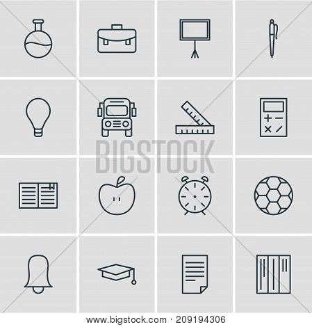 Editable Pack Of Football, Paper, Jingle And Other Elements.  Vector Illustration Of 16 Education Icons.