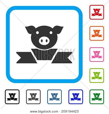 Pork Award Ribbon icon. Flat grey pictogram symbol inside a light blue rounded rectangular frame. Black, gray, green, blue, red, orange color versions of Pork Award Ribbon vector.