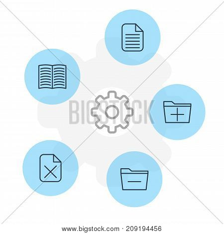 Editable Pack Of Textbook, Blank, Remove And Other Elements.  Vector Illustration Of 5 Office Icons.